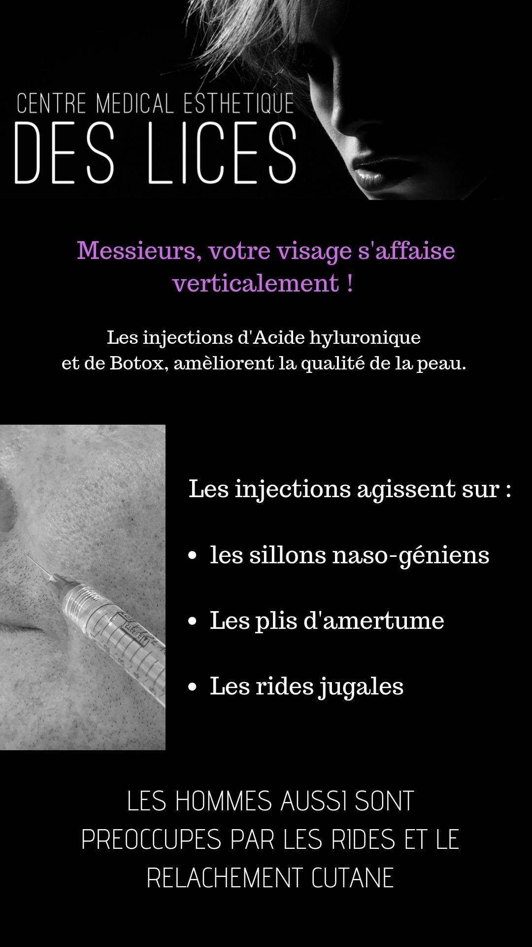 Injections visage pour les hommes au Centre Médical Esthétique des Lices